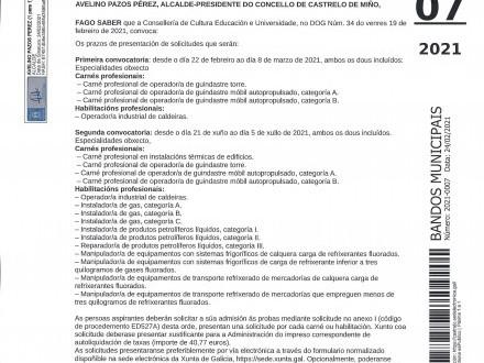 PROBAS PARA A OBTENCIÓN DE CARNÉS PROFESIONAIS
