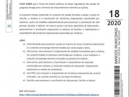 BANDO 18/2020: AXUDAS PROGRAMA EMEGA