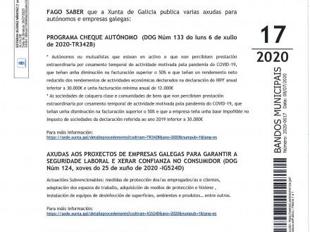 BANDO 17/2020: AXUDAS XUNTA AUTÓNOMOS E EMPRESAS