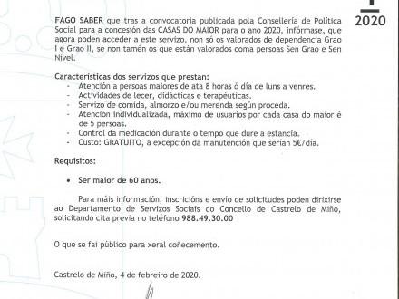 Bando 1/2020: Casas del Mayor Nueva Ordenanza (Vide y Paradela)
