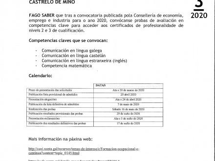 BANDO 3/2020: CERTIFICADOS COMPETENCIAS CLAVE (XUNTA DE GALICIA)