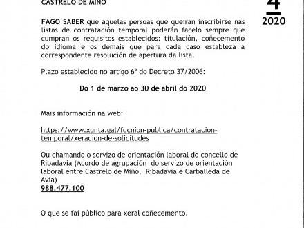 BANDO 4/2020: CONTRATACIÓN TEMPORAL XUNTA DE GALICIA