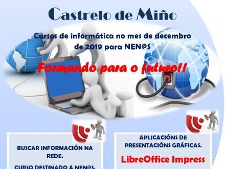 Cursos de informática en el aula INFO para el mes de diciembre en Castrelo de Miño.