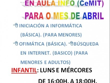 CURSOS  INFORMÁTICA DE BALDE EN AULA INFO.