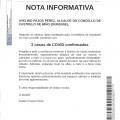 NOTA INFORMATIVA: 2 casos de COVID CONFIRMADOS